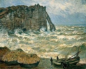 Mer agitée à Étretat