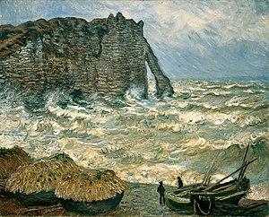 Stormy Sea in Étretat - Image: Monet Mer agitée à Etretat MBA Lyon