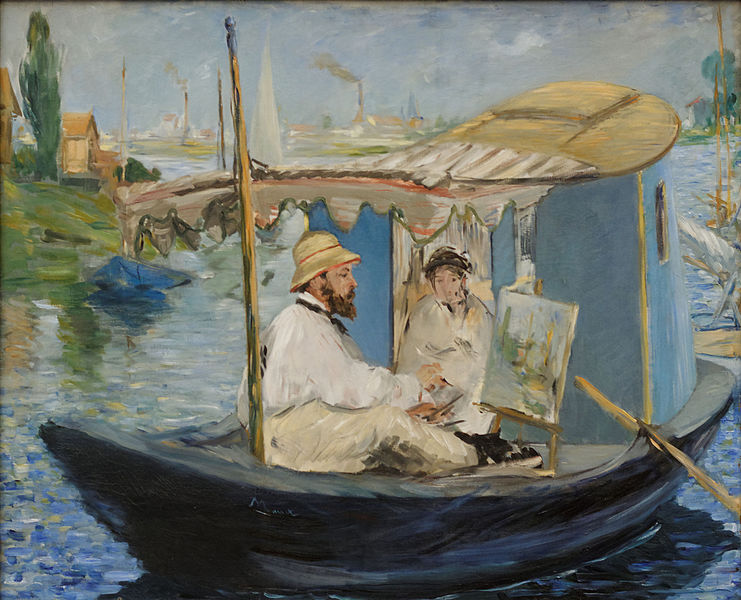 Fichier:Monet Painting on His Studio Boat Edouard Manet 1874.jpg