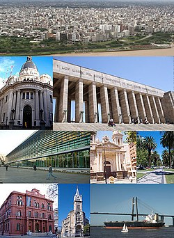 Clockwise from top: the National Flag Memorial's tower and propylaeum, aerial view of the city, Rosario-Victoria Bridge and the Palacio de los Leones.