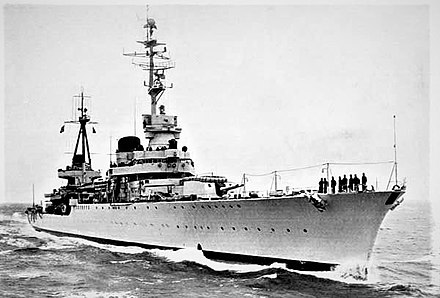 Cruiser Raimondo Montecuccoli, used in many successful battles such as the First Battle of Sirte (1941) and Operation Harpoon (1942) Montecuccoli.jpg