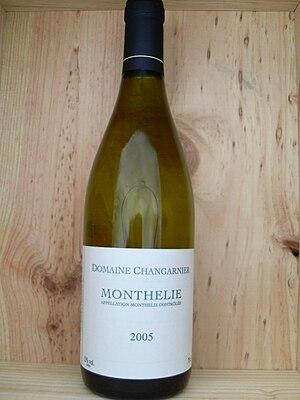 Monthélie wine - A bottle of white Monthélie wine.