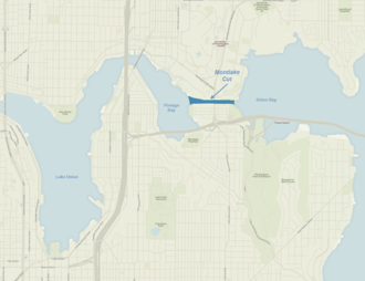Montlake Cut - Map of Seattle with Montlake Cut shaded in blue.