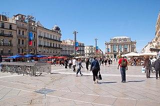 Place de la Comédie city square in Montpellier, France