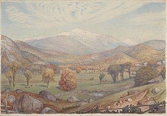 Charles Herbert Moore - Mount Washington, 1872, watercolor on cream wove paper, 16 x 23 cm, Princeton University Art Museum, Princeton, New Jersey