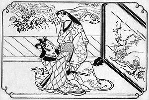 Ukiyo-e - Early woodblock print, Hishikawa Moronobu, late 1670s or early 1680s