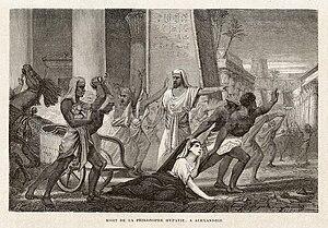 """Hypatia - """"Death of the philosopher Hypatia, in Alexandria"""" from Vies des savants illustres, depuis l'antiquité jusqu'au dix-neuvième siècle, 1866,  by Louis Figuier"""
