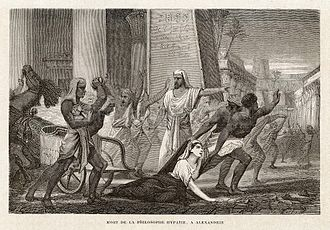 "Women in philosophy - ""Death of the philosopher Hypatia, in Alexandria"" (she was killed by an angry mob) - artwork by Louis Figuier (1866)."