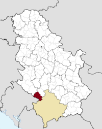Location of the municipality of Tutin within Serbia