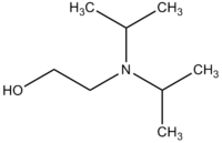Skeletal formula of N,N-diisopropylaminoethanol with some implicit hydrogens shown