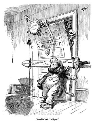 """Harry M. Daugherty - """"N-nothin to it, I tell you!"""" - 1922 cartoon by C. H. Sykes"""