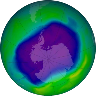 Ozone depletion - Image of the largest Antarctic ozone hole ever recorded (September 2006), over the Southern pole