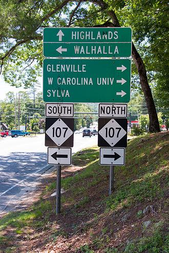North Carolina Highway 107 - US64 at NC 107, in Cashiers