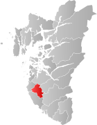 Locator map showing Time within Rogaland