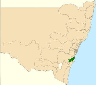 Electoral district of Kiama - Location in New South Wales