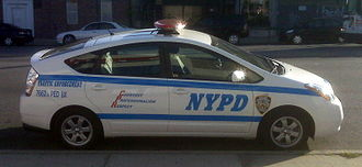Efficient energy use - Toyota Prius used by NYPD Traffic Enforcement