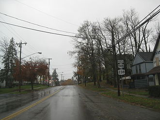 New York State Route 98 - Northbound on NY 98 and NY 238 in Attica