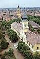 Nagykőrös. A városháza a református templom tornyából, mögötte a Szent László templom. Fortepan 21167.jpg