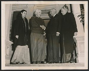 Albert Einstein House - Jawaharlal Nehru, India's first Prime Minister and Indira Gandhi (future PM) meeting Einstein at his home in Princeton, 1949