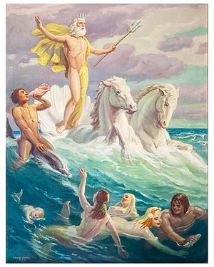 Louis Grell - Image: Neptune on Horses oil by Louis Grell
