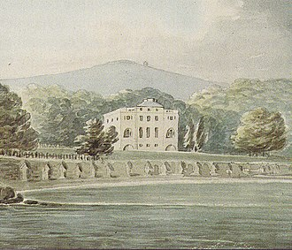 Nutwell - The newly rebuilt Nutwell Court as painted by Rev. John Swete (d.1821) during his travels of May 1799. Viewed from River Exe estuary