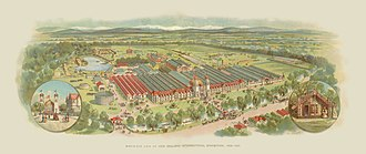International Exhibition (1906) - Chromolithograph of the Exhibition Buildings in Hagley Park by Philip Robert Presants