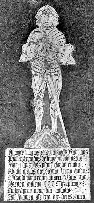 """Haccombe - Photograph of monumental brass of Nicholas Carew (died 1469) in """"spiky armour"""", Haccombe Church"""