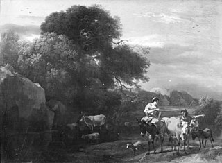 Evening Landscape with Wooded Rocks and Cattle