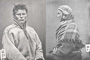 Kvalsund - Nicolas Nielsen and Kristin Mikkelsdatter photographed in Kvalsund by ethnographer Roland Bonaparte in 1884