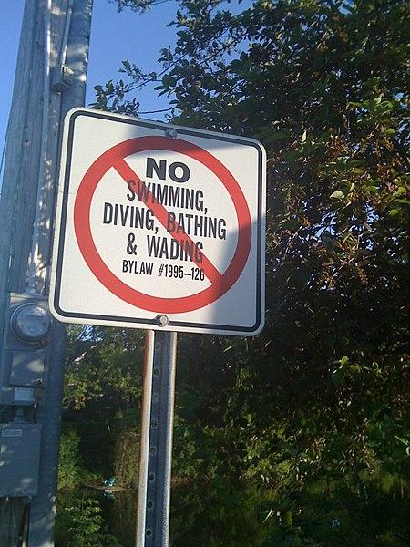 File:No Swiming, Diving, Bathing & Wading (3625290813).jpg