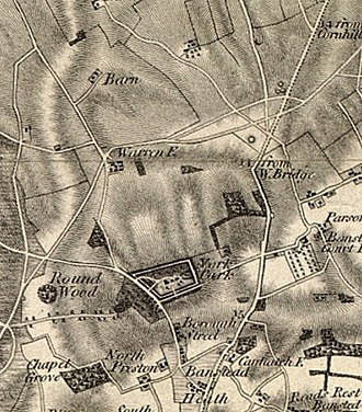 Nork, Surrey - 1816 OS map. Almost the only buildings in what is now Nork were Nork House, Great Burgh, and Warren Farm