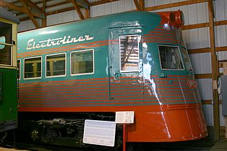 Chicago North Shore and Milwaukee Railroad - Preserved North Shore Line Electroliner trainset 801/802 at the Illinois Railway Museum in Union, Illinois