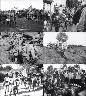 Northern Expedition - Clockwise from top-left: Chiang inspecting soldiers of the National Revolutionary Army; NRA troops marching northwards; an NRA artillery unit engaged in a battle with warlords; people showing support for the NRA; peasants volunteer to join the expedition; NRA soldiers preparing to launch an attack.