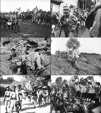 Northern Expedition - Clockwise from top-left: Chiang inspecting soldiers of the National Revolutionary Army; NRA troops marching north; an NRA artillery unit in combat; civilians showing support for the NRA; peasants volunteering to join the expedition; NRA soldiers preparing to launch an attack.
