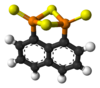 Ball and stick model of naphthalen-1,8-diyl 1,3,2,4-dithiadiphosphetane 2,4-disulfide