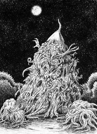 """Nyarlathotep - Nyarlathotep in """"The Dweller in Darkness"""" by August Derleth."""