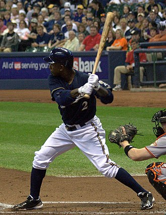 Nyjer Morgan - Morgan batting for the Milwaukee Brewers in 2011
