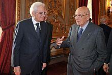 Sergio Mattarella con il suo predecessore alla carica di Presidente della Repubblica, Giorgio Napolitano