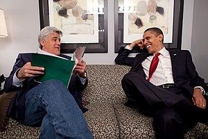 English: President Barack Obama shares a momen...