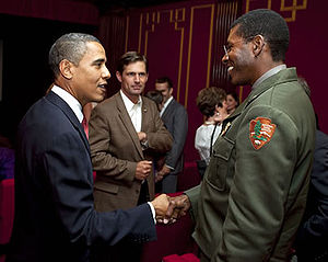 Shelton Johnson - President Barack Obama and Shelton Johnson discussing the Ken Burns documentary on the National Parks