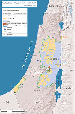The Occupied Palestinian Territories, marked by the Green Line.