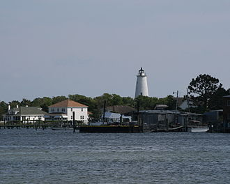 Ocracoke, North Carolina - View of Ocracoke Lighthouse across Silver Lake
