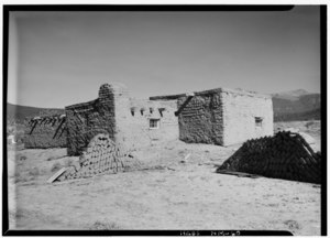 October 1961 SOUTHEAST ELEVATION - Upper Penitente Morada Chapel, Arroyo Hondo, Taos County, NM HABS NM,28-ARROY,1-1.tif