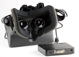 Virtual reality headset - The Oculus Rift development kit headset, showing the stereoscopic lens along with the control box.