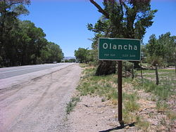 Olancha city limit sign along Southbound HWY 395 on June 18 2010.jpg