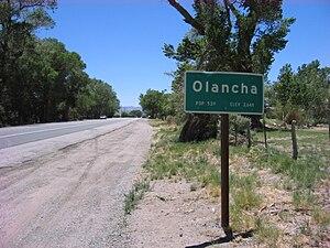 Olancha, California - Entrance sign, southbound