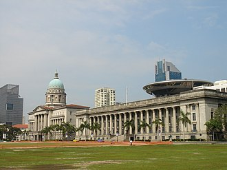 Padang, Singapore - Old Supreme Court Building with the Padang, the New Supreme Court Building shown in the background
