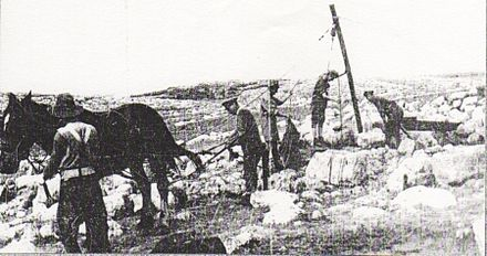 Raising water from a well in the hills west of Jerusalem in December 1917 Old well west of Jerusalem 1917.jpg