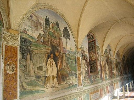 Monte Oliveto Maggiore,  Chiostro Grande, affreschi