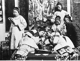 History of opium in China - Opium Smokers in illegal den, Beijing (1932)